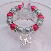 50th Birthday Wine Glass Charm - Full Sparkle Style